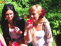 Picnic turned into outdoor fun with young babes