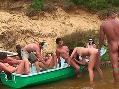 Agnes & Bella Margo  & Eniko & Julia Taylor in group of sexy college students shagging in nature