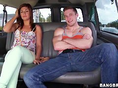 Young brunette slut Rissa Maxxx get in bang bus