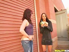 Three chicks are playing with dick of lucky man