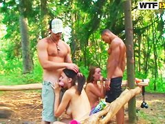 Olympia, Roxi and Veronica enjoy in outdoor sex