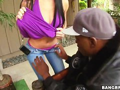 Tight ass Rebeca Linares teases dirty blac dude